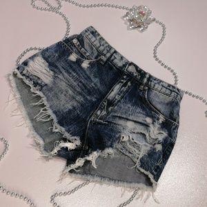 GARAGE Hight Waist Dark Wash Destroyed Jean Shorts